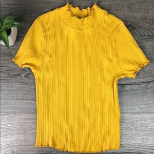 Wild Fable Gold Ribbed Mock Turtleneck Stretch Tee